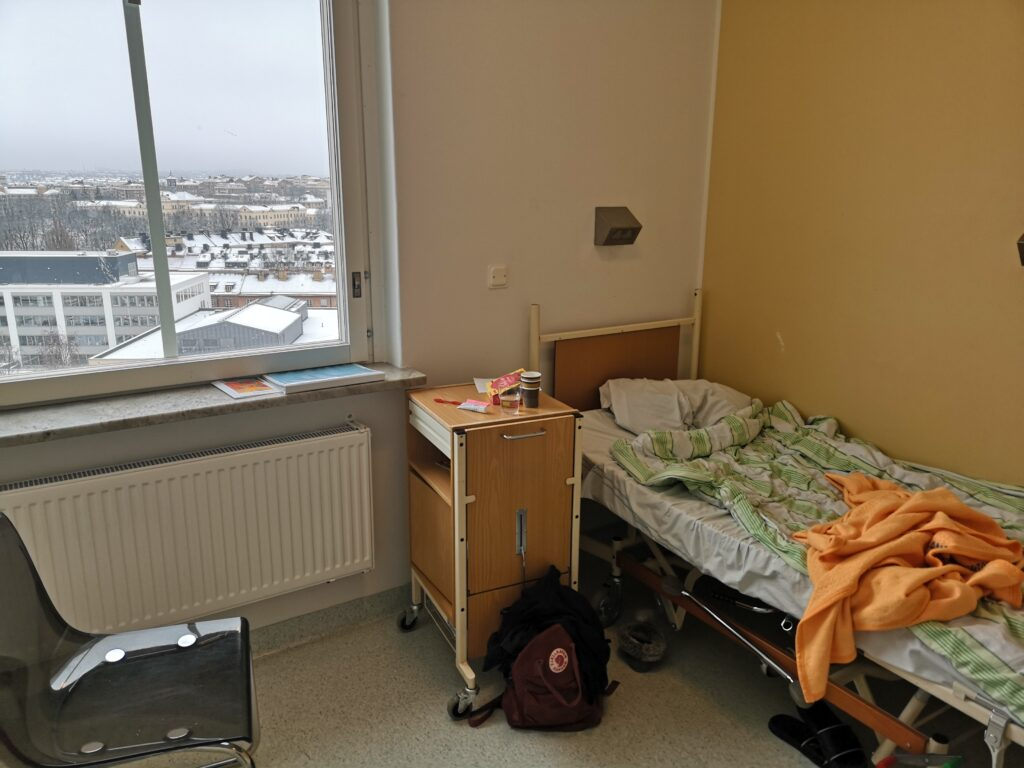 Ett patientrum inne på sjukhuset